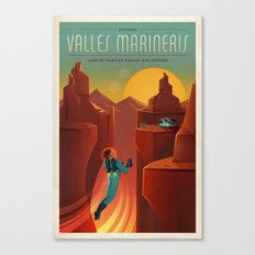DISCOVER MARS - Valles Marineris | Space | X | Canyon | Retro | Vintage | Futurism | Sci-Fi Canvas Print