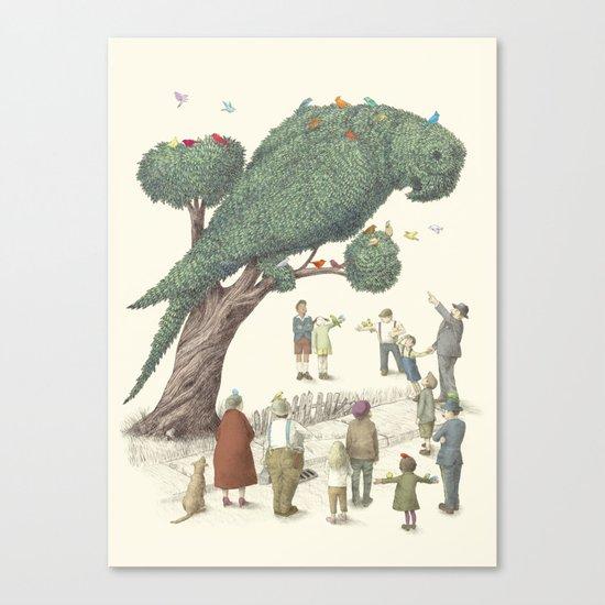 The Night Gardener - Parrot Topiary  Canvas Print