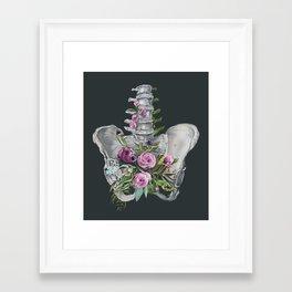 Floral Pelvis - gray background Framed Art Print