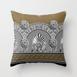 Roman Arches Black Brown Throw Pillow