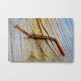Grunge Rusty Metal Nail On Wooden Deck Metal Print