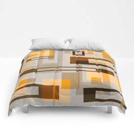 Mid Century Modern Blocks on Sand Comforters