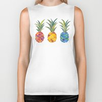 pineapples Biker Tanks featuring Pineapples by Cat Coquillette