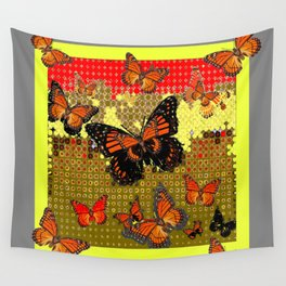 Abstracted Black & Orange Monarch Butterflies Red Wall Tapestry