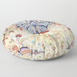 William Morris Embroidered Orchid & Calla Lilies Floral Textile Print Floor Pillow