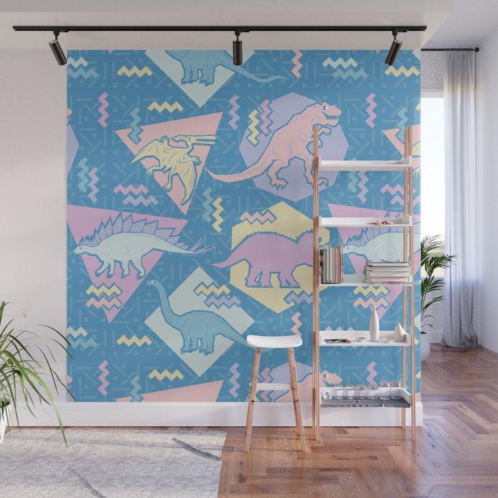 Nineties Dinosaurs Pattern  - Pastel version Wall Mural
