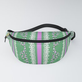 Pink Roses and Lace on Mint Fanny Pack