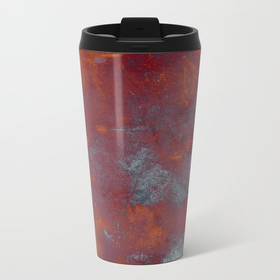 Cracked Amber - Textured abstract painting in amber and blue Metal Travel Mug
