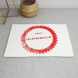 Just Married Ink Stamp Rug