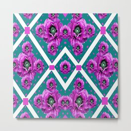 Purple Poppies White Lattice Garden on Teal Color Abstract Metal Print