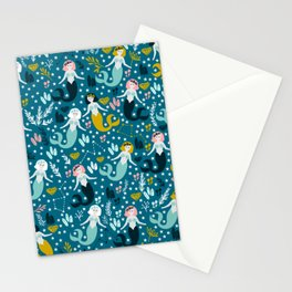 Cute Mermaid and Stars Stationery Cards