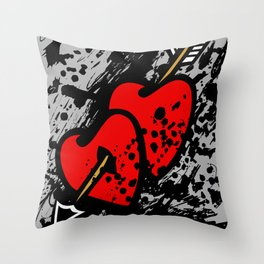 Hearts pierced with an arrow Throw Pillow