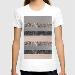 Blush Glitter Glam Stripes #1 #shiny #decor #art #society6 T-Shirt