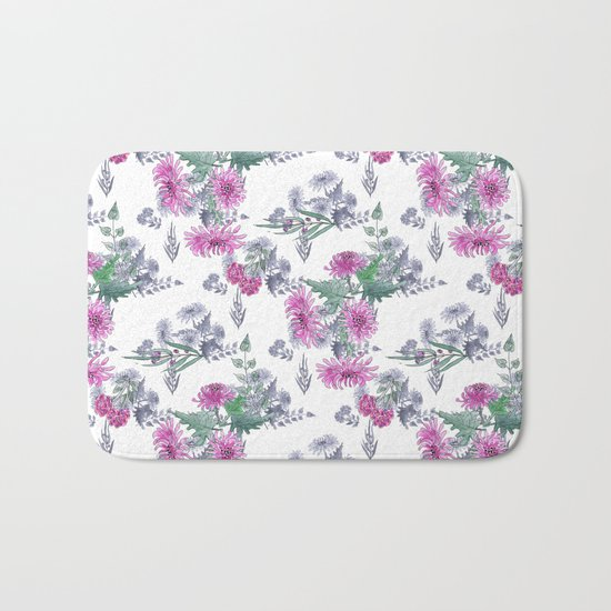 Watercolor floral pattern . 11 Bath Mat