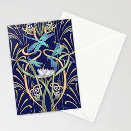 Art Nouveau Dragonflies | Navy Stationery Cards