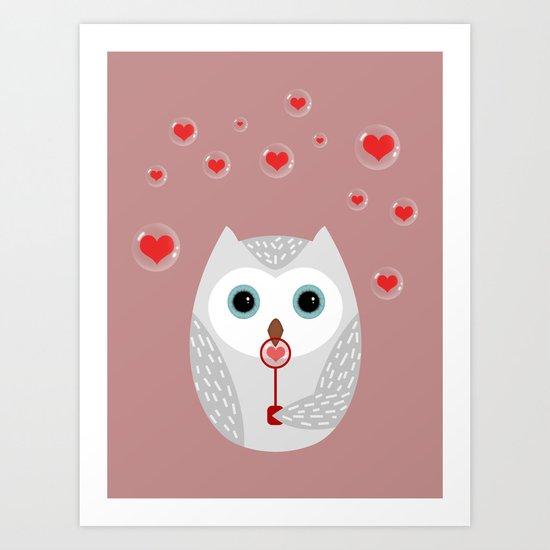 OWL, LOVE & BUBBLES (valentine animals heart) Art Print