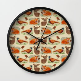Woodland felted creatures Wall Clock
