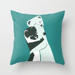 Weasel hugs in teal Throw Pillow