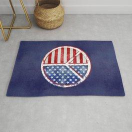 Watercolor Patriot Peace Symbol Stars and Stripes USA Flag Rug