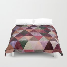 Abstract #480 Grunge Triangles #2 Duvet Cover