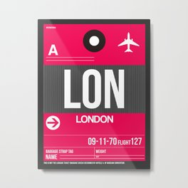 LON London Luggage Tag 2 Metal Print