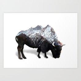 Bison Buffalo Double Exposure Surreal Wildlife Native Animal Art Print