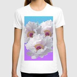 LILAC-PURPLE-BLUE  WHITE TREE PEONY FLOWERS ART T-shirt