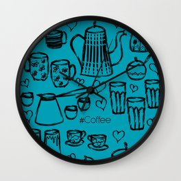 Turquise #Coffee Handdrawn Mugs and Pots lineart Wall Clock