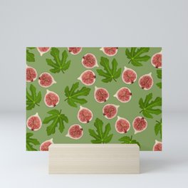 Figs and Fig Leaves green Mini Art Print