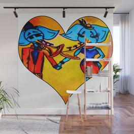 Baby blue musical elephants in love Wall Mural