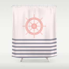 AFE Pink Nautical Helm Wheel  Shower Curtain