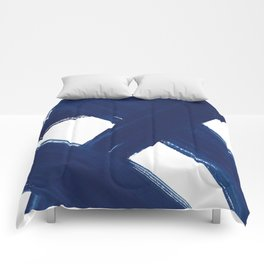 Indigo Abstract Brush Strokes | No. 3 Comforters
