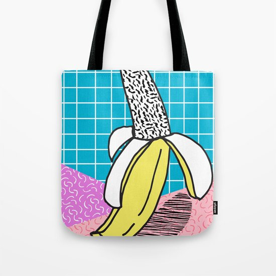 Schweet - modern memphis throwback 1980's style banana print polka dots retro nostalgia hipsters Tote Bag