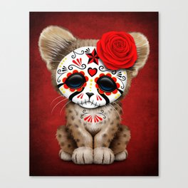 Red Day of the Dead Sugar Skull Cheetah Cub Canvas Print