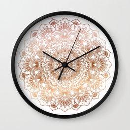 Copper tones ornate mandala Wall Clock