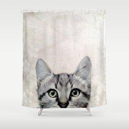 cat  illustration  original painting print Shower Curtain