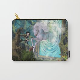 Cute unicorn jump by a gate Carry-All Pouch