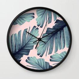 Blush Banana Leaves Dream #9 #tropical #decor #art #society6 Wall Clock