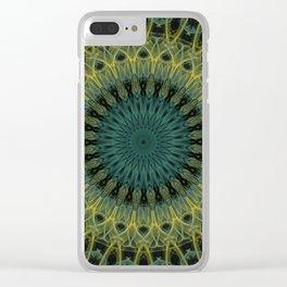 Malachite and golden mandala Clear iPhone Case