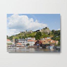 Halden harbour and Fredriksten fortress in Norway Metal Print