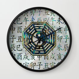 Abalone and Gold Bagua  feng shui hieroglyphs Wall Clock