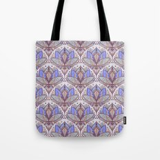 Art Deco Lotus Rising 2 - sage grey & purple pattern Tote Bag