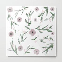 Subtle Flowers and Leaves Watercolor Metal Print