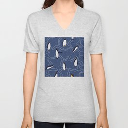 Winter Holiday Christmas Penguins With Snowflakes Pattern Unisex V-Neck