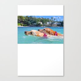 zoey and lainey swimming Canvas Print