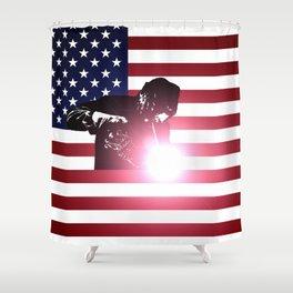 Welding: Welder & American Flag Shower Curtain