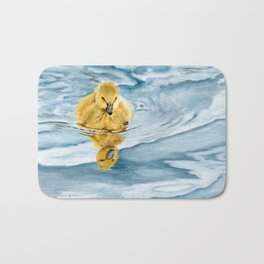 Is That Me? - Canadian Goose Gosling Acrylic Painting by Teresa Thompson Bath Mat