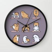 pomeranian Wall Clocks featuring Pomeranian yoga by Huebucket