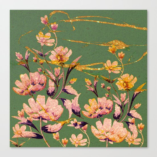 glittering pink flowers on green Canvas Print