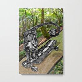 Simian Skateboard Selfie Metal Print